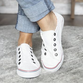 Flat casual denim canvas two-color stitching free sports single shoes White