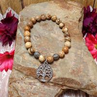 Tree of Life Stretch Charm Bracelet With Jasper Beads