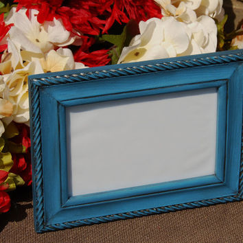 Rustic picture frame: Vintage dark sea blue 4x6 hand-painted decorative wooden rope tabletop photo frame