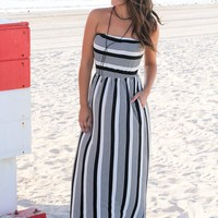 Strapless Black and White Striped Maxi Dress