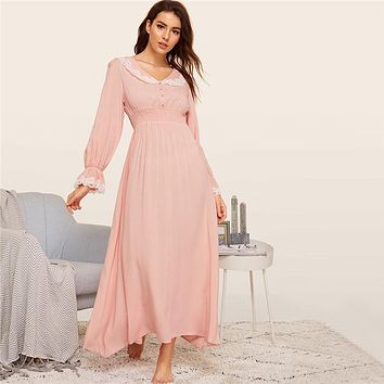 Lady Pink Shirred Panel Lace Trim Bell Sleeve Nightgown Solid Long Sleeve Maxi Night Dress V neck Women Nightwear