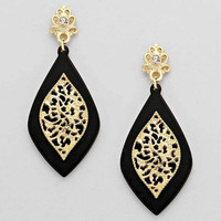 Black Tortois Gold Elegant Teardrop Earrings