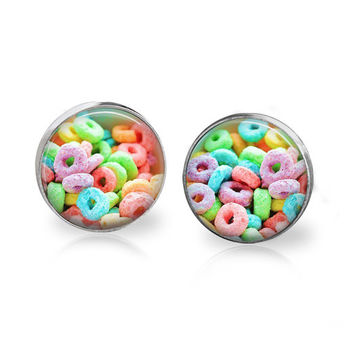 Fruit Cereal Earrings Silver Plated Photo Studs Glass Post Earrings Cereal Jewelry Sweet Sugar Breakfast Dessert Rainbow Loops Earrings Milk