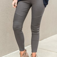 City Slicker Moto Jeggings - Charcoal