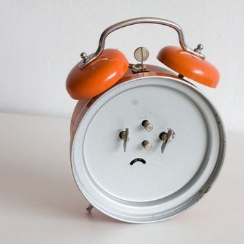 Orange Alarm Clock, Office Clock, German Ruhla Mechanical Clock, Made in GDR, Bright Summer, ohtteam