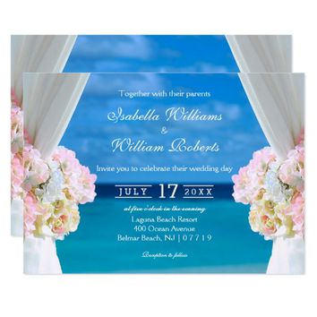 Elegant Floral Ocean Beach Summer Wedding Gate Card