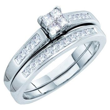 Ladies 14k Bridal Princess Cut Diamond Wedding Ring Set 0.50CT White Gold