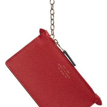 Smythson Calfskin Leather Zip Pouch with Key Ring | Nordstrom