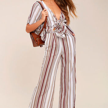 Faithfull the Brand Tilos White Striped Jumpsuit