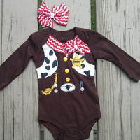 Cowgirl Halloween Baby Outfit  - Boy or Girl - Onesuit - Girl Hair Bow - Rodeo - Lasso