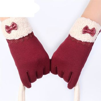 Hot 6colors Women Winter Click Screen Wrist Gloves Cotton Blended Bowknot Lace Patchwork Soft Warm Female Gloves WAug25