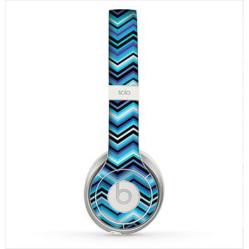 The Thin Striped Blue Layered Chevron Pattern Skin for the Beats by Dre Solo 2 Headphones