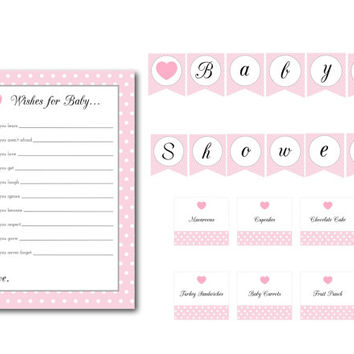 Pink Polka Dot Heart Baby Shower Banner, Food Labels, and Wishes for Baby Cards: INSTANT DOWNLOAD
