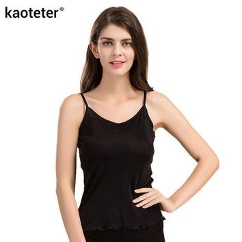 100% Pure Silk Women's Camisoles Female Thin Slim Halter Tanks Tops Femme Simple Sling Women Sexy Camis  Woman Knit Silk Ladies