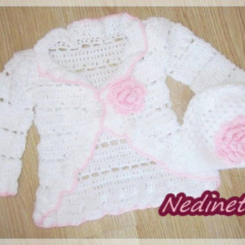 Crochet baby cardigan set, baby party girl, crochet hat set, crochet baby girl cardigan