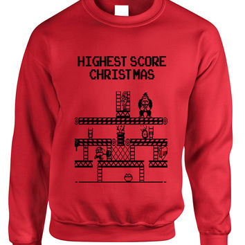 Adult Crewneck Highest Score Christmas Ugly Sweater Holiday Top