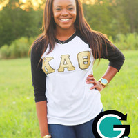 SALE!! CUSTOM American Apparel Baseball T Shirt with Greek (Sorority or Fraternity) Letters!
