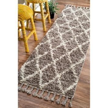 nuLOOM Hand-knotted Moroccan Trellis Natural Shag Wool Runner (2'8 x 10') | Overstock.com Shopping - The Best Deals on Runner Rugs