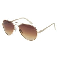 Enamel Sides Aviator Sunglasses | Wet Seal