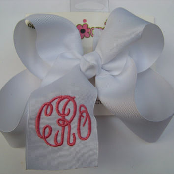Large Master Circle Script Triple Monogram Boutique Hair Bow Choose Color Karens Creations