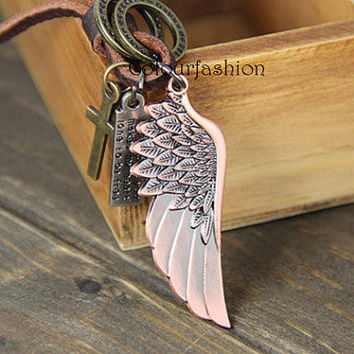 Wing Jewelry, Retro Charm Necklace, Brown Leather Chain,  Cross Charm, Bronze Ring, Dream wing, His and Hers, Gift for Lover  SC-20