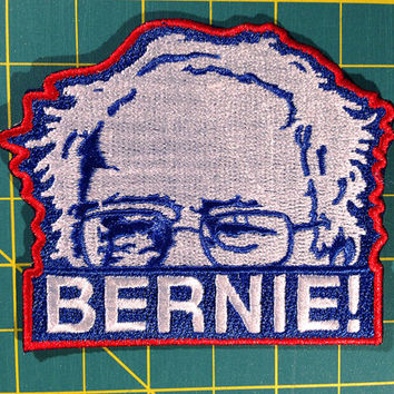 "Bernie Sanders Iron on Embroidered Patch 3"" by 2.5"""