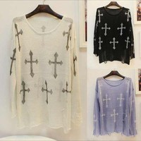 Cross Printed Knitted Sweater/Jumper from Basiques Boutique