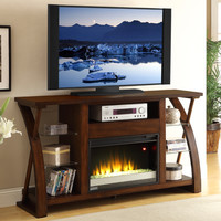 Super Z 62 Inch Fireplace TV Media Console Distressed Cocoa