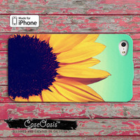 Sunflower Cute Flower Tumblr Inspired Blue Ombre Custom iPhone 4 and 4s Case and Custom iPhone 5 and 5s and 5c Case