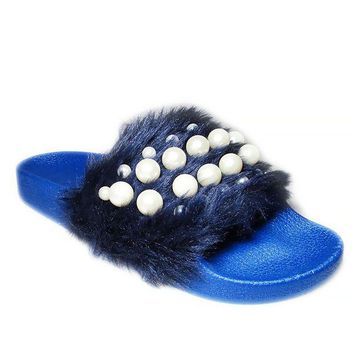ESBONG6 Women Fashion Faux Fur Cozy Slipper With Pearl Stud Shoes ME3087