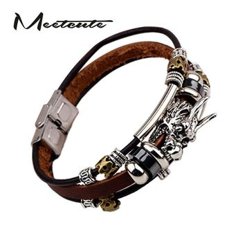 Meetcute Ethnic Fashion Leather Bangles & Bracelets Man China Dragon Head Zodiac Bracelets Multi-layer Leather Rope Punk Jewelry
