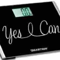 """SmartWay Precision XL Digital Bathroom Scale YES I CAN! Motivation Series w/ Extra Wide 440lb Step-On Platform """"2015 Limited Edition"""" (Black)"""