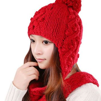 CREYU3C Fashion Female Beanies Autumn Winter Warm Knitted Hat Striped Openwork Women Hats Caps Ear Protection With Pom Pom 0351