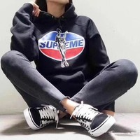 """""""Supreme x Hysteric Glamour"""" Women Casual Fashion Letter Pepsi Cola Pattern Print Long Sleeve Hooded Sweater Sweatshirt Tops"""