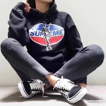 """Supreme x Hysteric Glamour"" Women Casual Fashion Letter Pepsi Cola Pattern Print Long Sleeve Hooded Sweater Sweatshirt Tops"