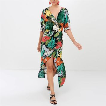 2019 Summer Dress Women Floral Print Bohemian Chiffon Maxi Dress Vintage Sexy V-Neck Long Holiday Beach Party Dresses Vestidos