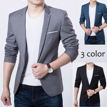 Men Fashion Pure Color Suit Coat Casual Business Attire [9305825159]