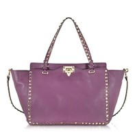 Valentino Designer Handbags Rockstud Aubergine Medium Leather Tote