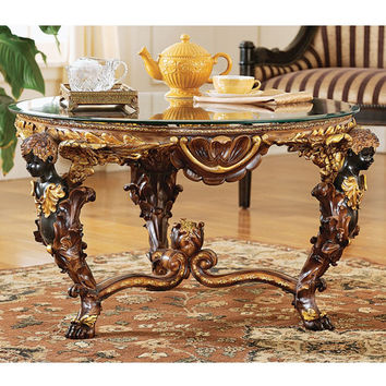 Design Toscano Louis XIV Coffee Table with Glass Top