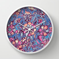 Sweet Spring Floral - soft indigo & candy pastels Wall Clock by Micklyn