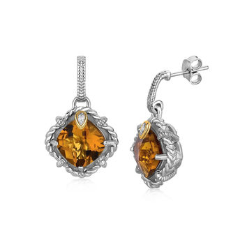 Talon Set Diamond & Whiskey Quartz Cable Detailed Earrings in Silver + Gold