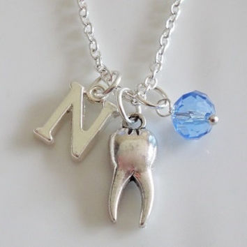 Initial necklace, Tooth necklace, Birthstone necklace, tooth charm, silver chain necklace, dental hygiene, dentist Hygienist Doctor gift