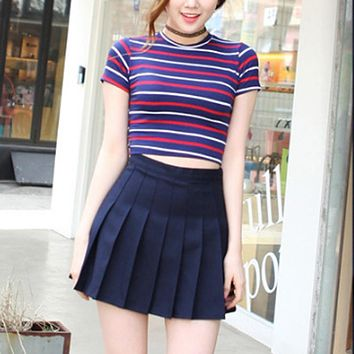 Skirts Women Girl High Waist Pleated Skirts Solid A-line School Students Skirt For Summer Spring Autumn Winter saias