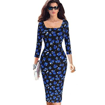 Vfemage Womens Elegant Vintage Rockabilly Floral Flower Print Square Neck Slim Spring Party Pencil Fitted Casual Dress 2058