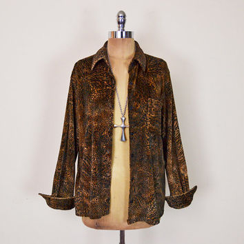 Vintage 90s Leopard Shirt Leopard Print Shirt Blouse Animal Print Top Velvet Shirt Velour Button Up Button Down Oversize Shirt Grunge S M