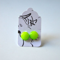 Stud Earrings - Neon Yellow and Neon Green Stud Earrings - Tiny Stud Earrings - Post Earrings - Colorful Earrings - Handmade Enamel Studs
