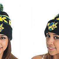 Pokemon Pikachu Black Knit Hat with Pom