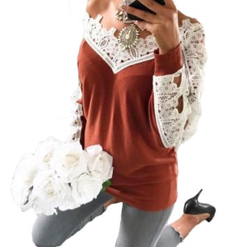 YJSFG HOUSE Lace Patchwork Casual Wool Sweater Women Pullovers Jumpers Sexy Off Shoulder Crocheted Shirt Autumn Women Tops