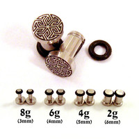 Maze of Life 316L Surgical Steel Plugs - Single Flared - 8g (3mm) 6g (4mm) 4g (5mm) 2g (6mm) Metal Ear Gauges