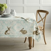 "Bunny Damask Tablecloth, 70"" x 108"""